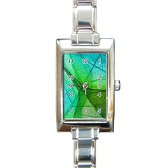 Sunlight Filtering Through Transparent Leaves Green Blue Rectangle Italian Charm Watch by BangZart