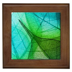 Sunlight Filtering Through Transparent Leaves Green Blue Framed Tiles