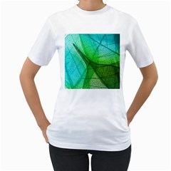 Sunlight Filtering Through Transparent Leaves Green Blue Women s T Shirt (white) (two Sided)