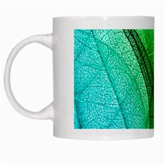 Sunlight Filtering Through Transparent Leaves Green Blue White Mugs by BangZart