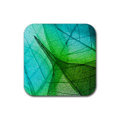 Sunlight Filtering Through Transparent Leaves Green Blue Rubber Square Coaster (4 Pack)  by BangZart