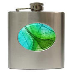 Sunlight Filtering Through Transparent Leaves Green Blue Hip Flask (6 Oz) by BangZart