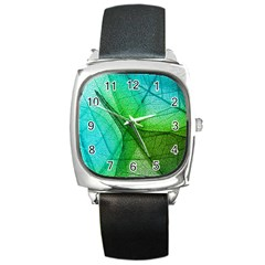 Sunlight Filtering Through Transparent Leaves Green Blue Square Metal Watch
