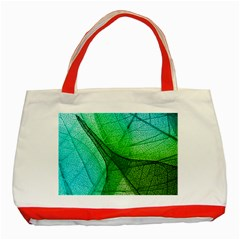 Sunlight Filtering Through Transparent Leaves Green Blue Classic Tote Bag (red) by BangZart