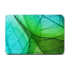 Sunlight Filtering Through Transparent Leaves Green Blue Small Doormat