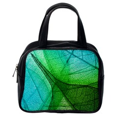 Sunlight Filtering Through Transparent Leaves Green Blue Classic Handbags (one Side)