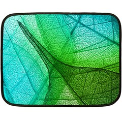Sunlight Filtering Through Transparent Leaves Green Blue Fleece Blanket (mini) by BangZart