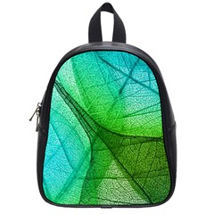 Sunlight Filtering Through Transparent Leaves Green Blue School Bags (small)  by BangZart