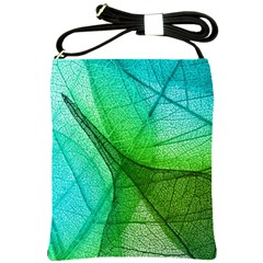Sunlight Filtering Through Transparent Leaves Green Blue Shoulder Sling Bags by BangZart