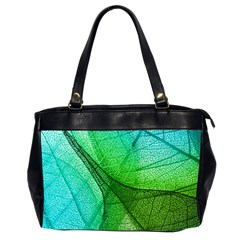 Sunlight Filtering Through Transparent Leaves Green Blue Office Handbags (2 Sides)  by BangZart