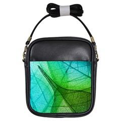 Sunlight Filtering Through Transparent Leaves Green Blue Girls Sling Bags by BangZart