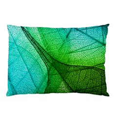 Sunlight Filtering Through Transparent Leaves Green Blue Pillow Case (two Sides)