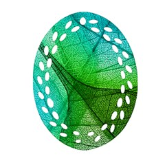 Sunlight Filtering Through Transparent Leaves Green Blue Ornament (oval Filigree) by BangZart