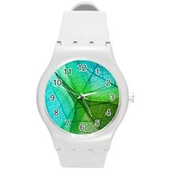 Sunlight Filtering Through Transparent Leaves Green Blue Round Plastic Sport Watch (m)