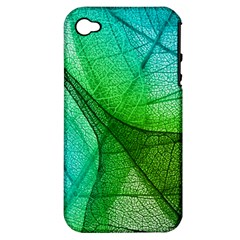 Sunlight Filtering Through Transparent Leaves Green Blue Apple Iphone 4/4s Hardshell Case (pc+silicone) by BangZart