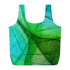 Sunlight Filtering Through Transparent Leaves Green Blue Full Print Recycle Bags (l)  by BangZart