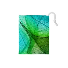Sunlight Filtering Through Transparent Leaves Green Blue Drawstring Pouches (small)