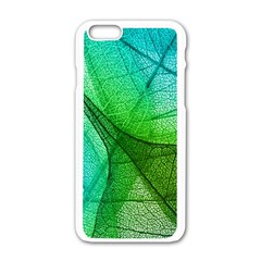 Sunlight Filtering Through Transparent Leaves Green Blue Apple Iphone 6/6s White Enamel Case by BangZart
