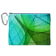 Sunlight Filtering Through Transparent Leaves Green Blue Canvas Cosmetic Bag (xl) by BangZart