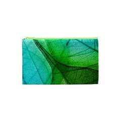 Sunlight Filtering Through Transparent Leaves Green Blue Cosmetic Bag (xs) by BangZart