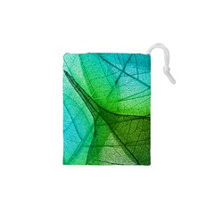 Sunlight Filtering Through Transparent Leaves Green Blue Drawstring Pouches (xs)