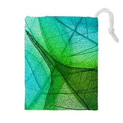 Sunlight Filtering Through Transparent Leaves Green Blue Drawstring Pouches (extra Large) by BangZart