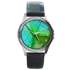 Sunlight Filtering Through Transparent Leaves Green Blue Round Metal Watch