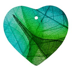 Sunlight Filtering Through Transparent Leaves Green Blue Ornament (heart)