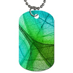 Sunlight Filtering Through Transparent Leaves Green Blue Dog Tag (two Sides) by BangZart