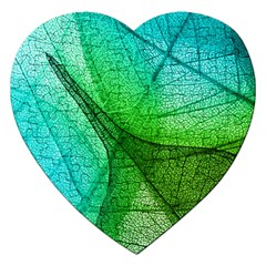 Sunlight Filtering Through Transparent Leaves Green Blue Jigsaw Puzzle (heart) by BangZart