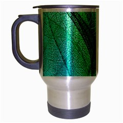 Sunlight Filtering Through Transparent Leaves Green Blue Travel Mug (silver Gray) by BangZart