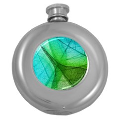 Sunlight Filtering Through Transparent Leaves Green Blue Round Hip Flask (5 Oz)