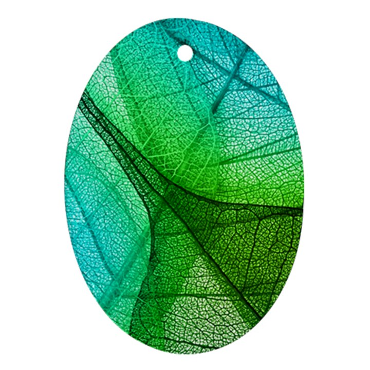 Sunlight Filtering Through Transparent Leaves Green Blue Oval Ornament (Two Sides)