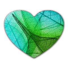 Sunlight Filtering Through Transparent Leaves Green Blue Heart Mousepads