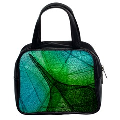 Sunlight Filtering Through Transparent Leaves Green Blue Classic Handbags (2 Sides) by BangZart