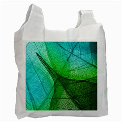 Sunlight Filtering Through Transparent Leaves Green Blue Recycle Bag (one Side)