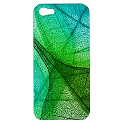 Sunlight Filtering Through Transparent Leaves Green Blue Apple Iphone 5 Hardshell Case by BangZart
