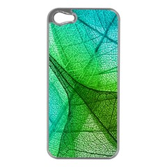 Sunlight Filtering Through Transparent Leaves Green Blue Apple Iphone 5 Case (silver) by BangZart