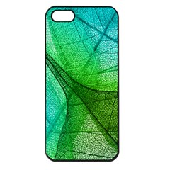 Sunlight Filtering Through Transparent Leaves Green Blue Apple Iphone 5 Seamless Case (black) by BangZart