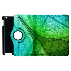 Sunlight Filtering Through Transparent Leaves Green Blue Apple Ipad 2 Flip 360 Case by BangZart