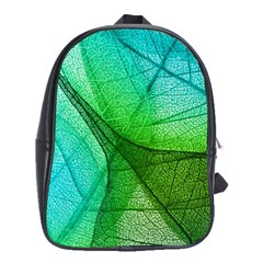 Sunlight Filtering Through Transparent Leaves Green Blue School Bags (xl)  by BangZart
