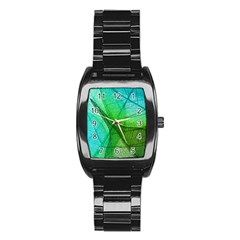 Sunlight Filtering Through Transparent Leaves Green Blue Stainless Steel Barrel Watch