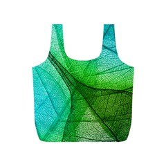 Sunlight Filtering Through Transparent Leaves Green Blue Full Print Recycle Bags (s)