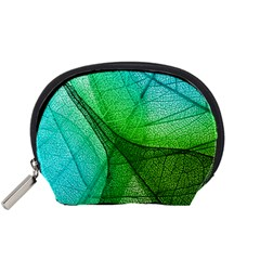 Sunlight Filtering Through Transparent Leaves Green Blue Accessory Pouches (small)  by BangZart