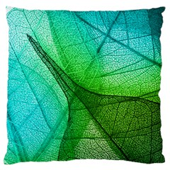 Sunlight Filtering Through Transparent Leaves Green Blue Large Flano Cushion Case (two Sides) by BangZart