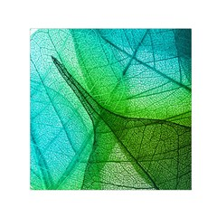 Sunlight Filtering Through Transparent Leaves Green Blue Small Satin Scarf (square) by BangZart
