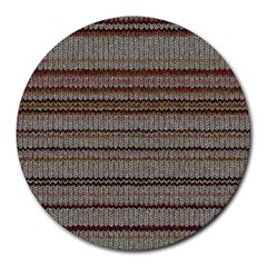 Stripy Knitted Wool Fabric Texture Round Mousepads