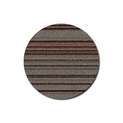 Stripy Knitted Wool Fabric Texture Rubber Coaster (round)  by BangZart