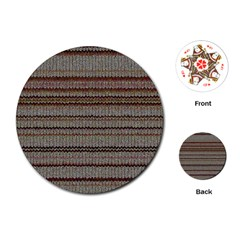 Stripy Knitted Wool Fabric Texture Playing Cards (round)