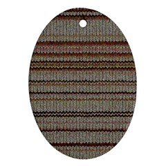 Stripy Knitted Wool Fabric Texture Oval Ornament (two Sides) by BangZart